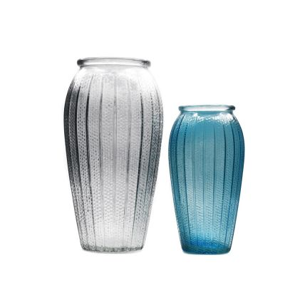 wholesale tall clear oval flower arrangement glass vase with raindrop dimpled and vertical stripes