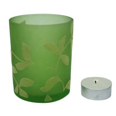 6oz candle glass jars green votive candle holders flocked leaves