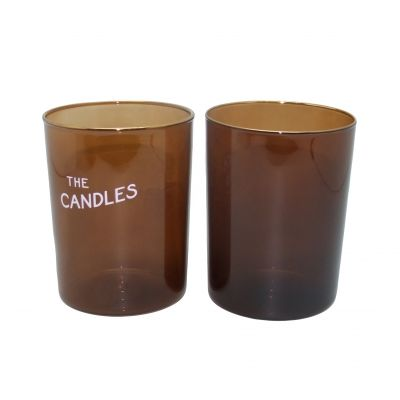 9oz luxury amber candle jars screen printed candle glass jars