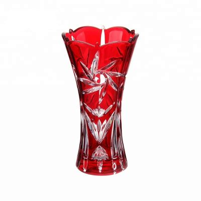 30cm red color painting murano glass vase for flowers