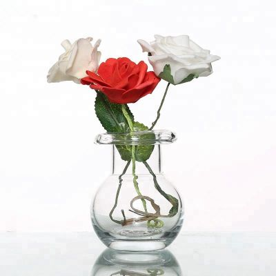 Round Type 300ml Crystal Glass Flower Vase For Decorative