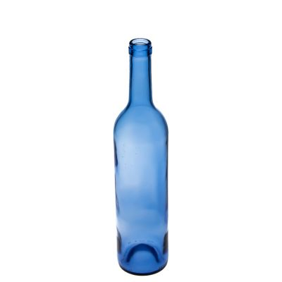 750 ml Glass Bordeaux Bottle Blue Glass Red Wine Bottle with Wooden Cork Stopper