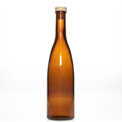 Best Quality Round Amber Brown 500ml 17oz Champagne Liquor Spirit Wine Bottle Glass with Wooden Cork Stopper