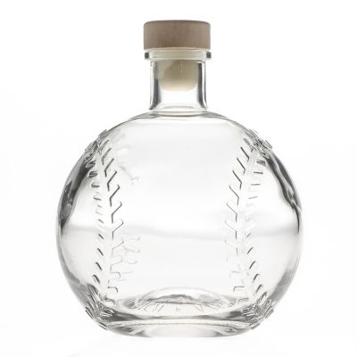 Baseball Shaped Clear Empty 750ml glass foreign liquor bottle 75cl glass wine bottle