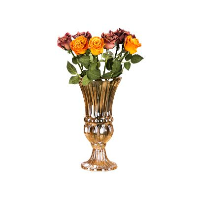 clear and high quality beautiful hand cut crystal glass flower vase