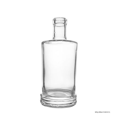 Wholesale High Clear 500ml Gin Bottle Rum Bottle With High Polymer Cork
