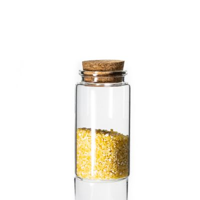 empty glass storage jar 100 ml cosmetic medical use Borosilicate glass vial with wooden cork lids