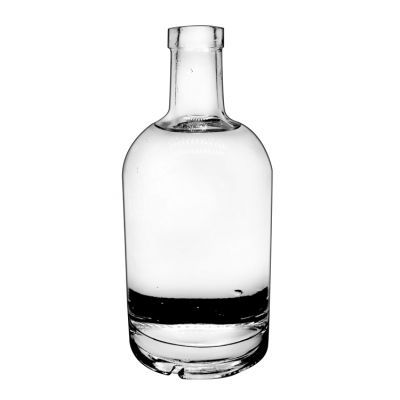 glass crystal white material 700ml round bottle whiskey glass wine bottle vodka glass bottle