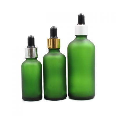 Quick shipping 5ml/10ml /15ml/ 20ml / 30ml / 50ml/100ml Frosted Green Glass Boston Round Dropper Glass Bottle