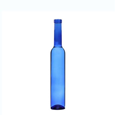 Empty Clear Blue Ice Wine 375 ml Glass Bottle with Cork Stoppers