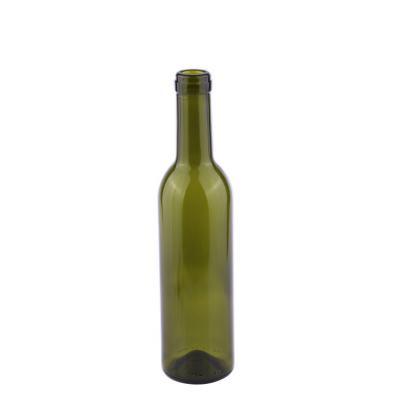 Good quality wholesale green round empty 375ml glass red wine bottle with cork lid
