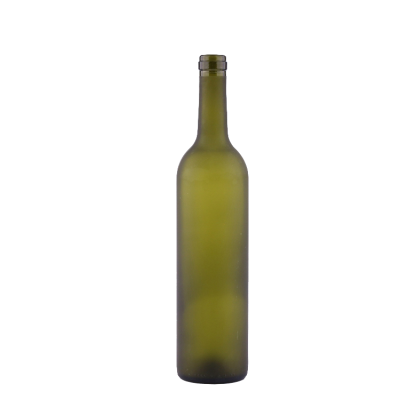 Wholesale empty green 750ml dark green frosted red wine glass bottles