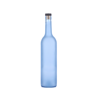 Wholesale premium quality 750ml Frosted Blue Empty glass wine bottle