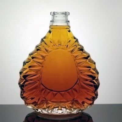 Factory Supply 750ml Crystal Glass Xo Rum Cognac whisky unique shaped 500ml glass Bottles