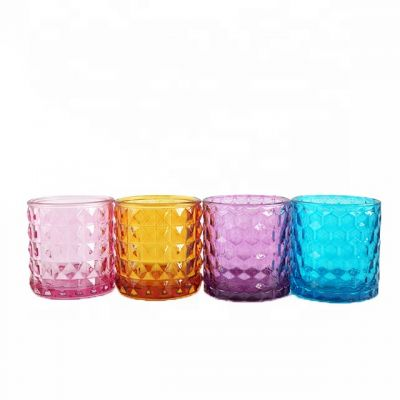 4 Colors Round Cylinder Glass Candle Holder