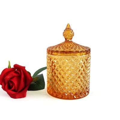 best selling luxury amber glass candle jar with Dome lid exquisite candle holders glass 10oz