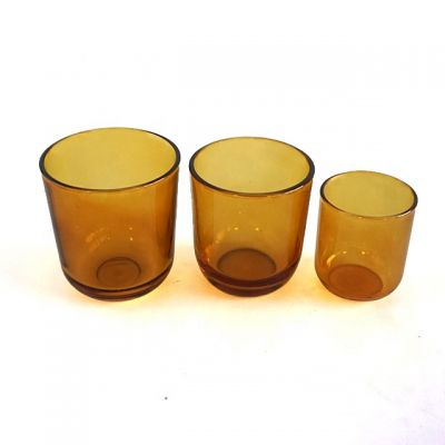 Shiny Amber Blue Green Purple Color Set Of 3 Glass Candle Holders for Wedding Centerpieces