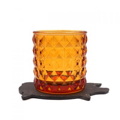 180ml exquisite amber glass candle jar and container