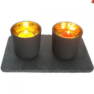 2019 popular gold plating frosted black candle holder glass wholesale