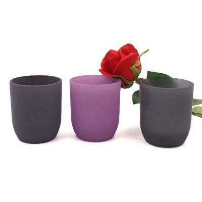 wholesale 250ml frosted black grey pink candle jar glass