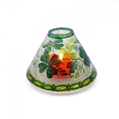 Crackle Glass Candle Shade Chandelier Lamp Shade With Leaf Decor