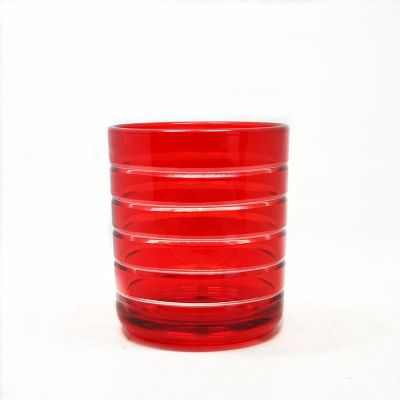 Red Christmas candle tealight holder glass candle jar and decor lid