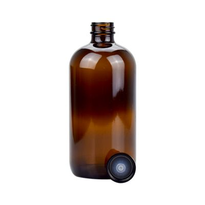 cosmetic packaging containers amber glass bottle 500ml large size round glass bottles 16oz glass bottle with lid