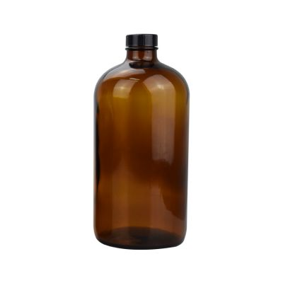 empty large glass bottle round amber glass bottle 1000ml 32oz glass bottles with black plastic screw cap