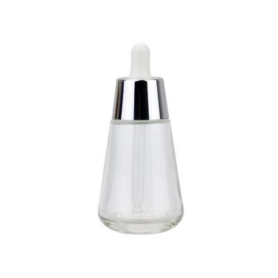 30ml cosmetic package wholesale essential oil bottle glass with silver collar fancy glass cosmetic serum dropper bottle