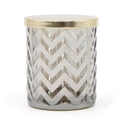 Metal Lid Candle Jar Embossed Large Grey Glass Candle Jar