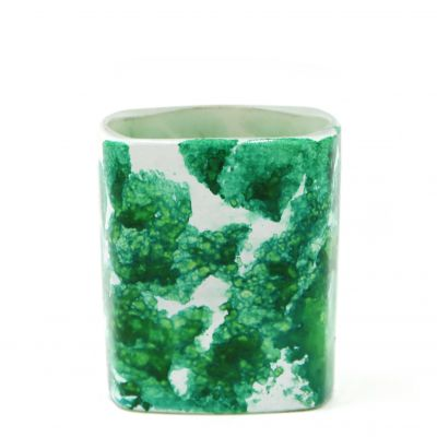 Square Glass Tealight Candle Jar WIth Water Transfer Green Pattern