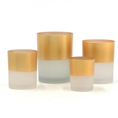 Frosted Gold Tealight Glass Candle Holder Set For Home Decoration