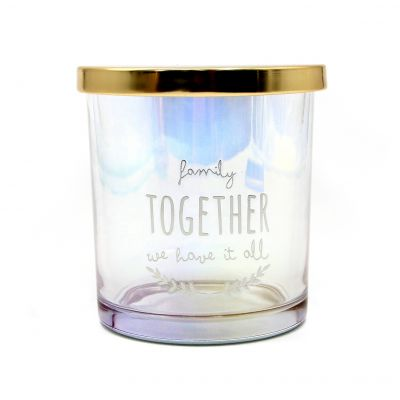Unique design decorative glass candle jar for candle with gold lid