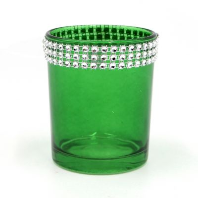 Hot Sale Dark Green Empty Candle Holder In Glass
