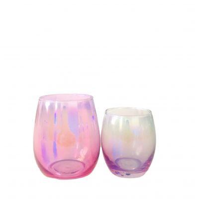 iridescent pink egg shaped empty candle in round for wholesale