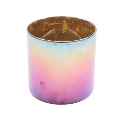 Stainless steel metal candle jars wholesale,Stainless Steel Candle Holder with rainbow electroplated
