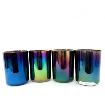Colorful ion plating iridescent glass candle jars glass cup