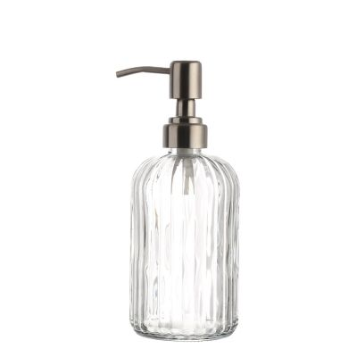 Factory Price 500 Ml Round Shape Boston Emboss Clear Glass Bottle With Sprayer