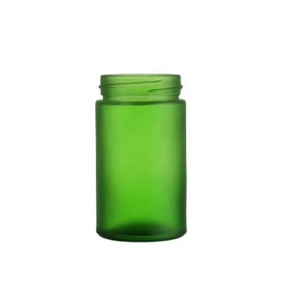 Fancy 150 ml pharmaceutical capsules wide mouth green glass bottle with screw