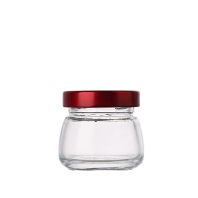 Best price fancy Shaped clear Glass 50 ml small Honey Bird Nest Jar with metal lid