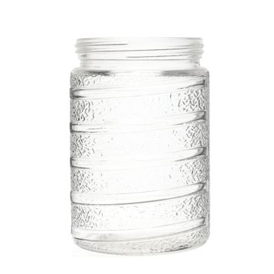 Special design 1.5L straight side embossed empty tall round storage jar containers