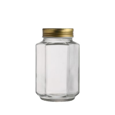 Unique hexagonal shape 380 ml Clear empty glass food jam honey pickles jar with metal lid