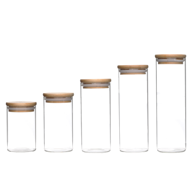 Food grade fancy keep fresh straight round clear high borosilicate glass jar with bamboo lid
