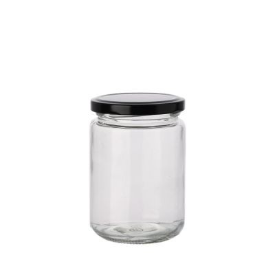 Fancy 300ml 350 ml round storage food clear honey pickle glass jar with metal lid
