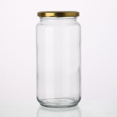 Round 900 ml Clear empty round glass food jar for jam honey pickles jar with lid