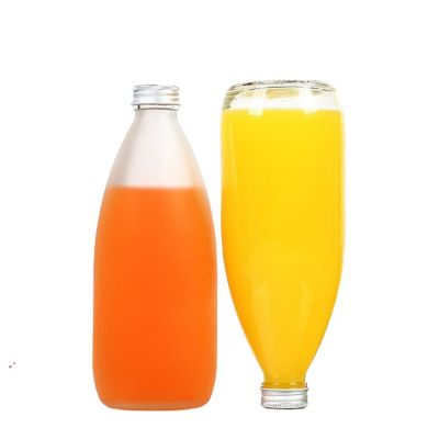 Frosted 250ML 500ML Glass Juice Milk Drinkl Bottle with Aluminum Cap