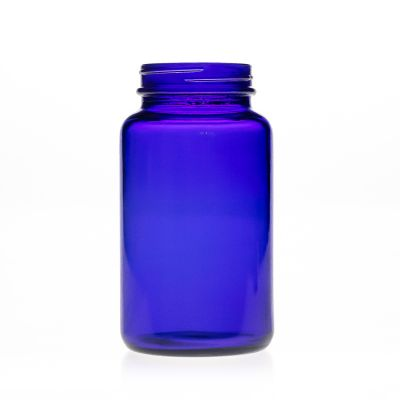 Pharmaceutical Grade 300ml 10oz Cobalt Blue Round Wide Mouth Glass Medicine Bottle with screw Cap