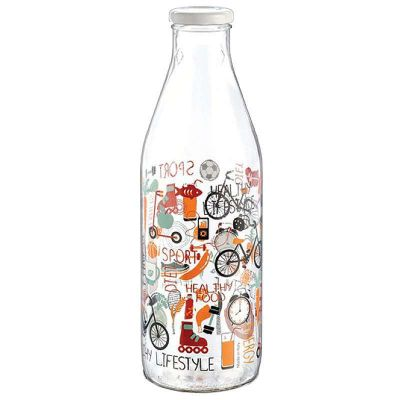 Customized 1000ml clear round glass milk bottle with tinplate cap