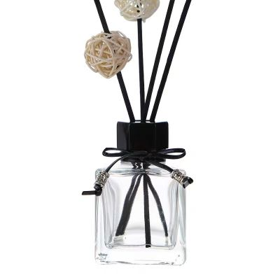 40ml/50ml/80ml/100ml/125ml/180ml clear empty square reed diffuser bottle