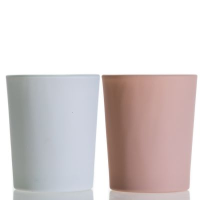 Wholesale Luxury 90ml Decorative Empty Glass Candle Cup Holder Matte Pink Small Candle Cup